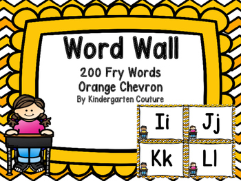 Word Wall Orange Chevron and 200 Fry Words