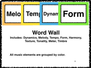 Word Wall - Organized by Musical Element