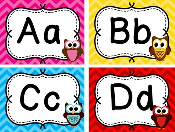 Word Wall - Owl & Chevron Theme - Sight Words for Classroom Decor & Word Work