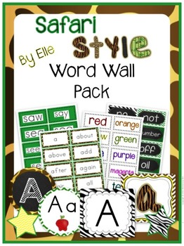Word Wall Pack - Safari Style Theme {Jungle and Animal Print}