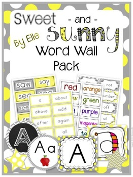 Word Wall Pack - Sweet and Sunny Theme {Yellow and Grey}