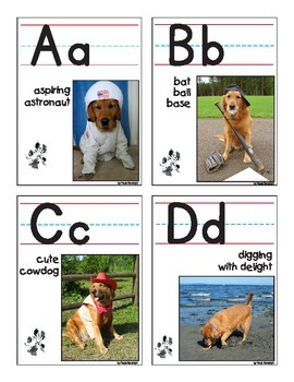 Word Wall Palmer Alphabet Cards - ball and stick font
