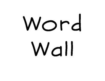 Word Wall Part of Speech Titles