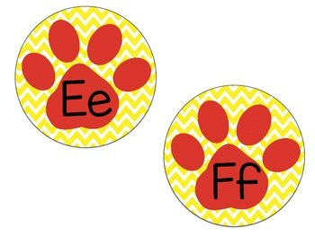 Word Wall Paw Print Letters