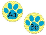 Word Wall Paw Print Letters Yellow & Blue