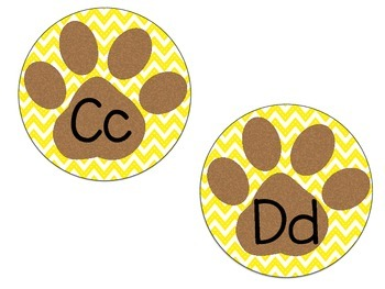 Word Wall Paw Print Letters Yellow & Brown