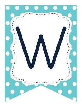 Word Wall Pennant Banner (polkadots)