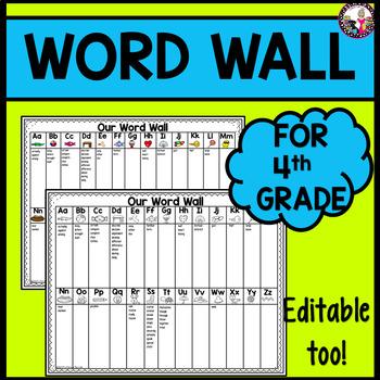 Word Wall Personal Grade 4