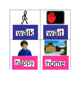 Word Wall Picures and Words Autism