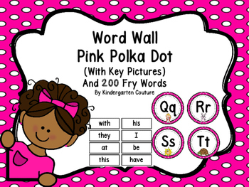Word Wall Pink Polka Dot And 200 Fry Words