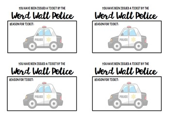 Word Wall Police Ticket