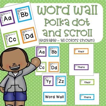 Word Wall - Polka Dots and Scroll