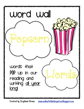 Word Wall Popcorn Words