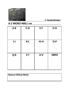 Word Wall:  Portable Word Wall from A-Z