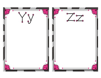 Word Wall Posters - Blank Lined 8x10   A-Z  pink/zebra