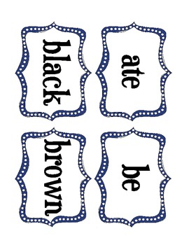 Word Wall Sight Word Cards (Dolch Preprimer and Primer Level)