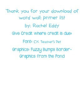 Word Wall- Primer