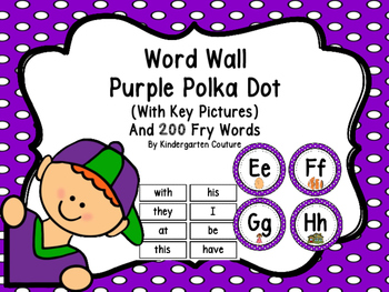 Word Wall Purple Polka Dot And 200 Fry Words