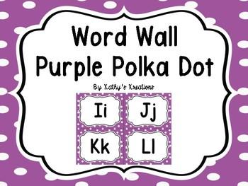 Word Wall Purple Polka Dot  -Dollar Deal