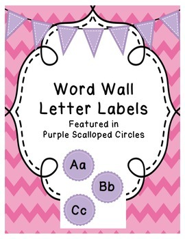 Word Wall Letters (Purple Scalloped Circles)
