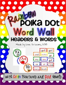 Word Wall - Rainbow Polka Dot with Color Pictures and Vowels