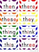 Word Wall - Rainbow Chevron with Color Pictures and Vowels