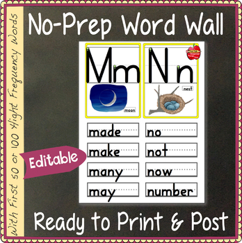 EDITABLE Word Wall: Letters & Words: for K to 3rd, 100 Fry Words