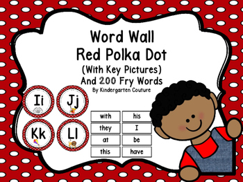Word Wall Red Polka Dot And 200 Fry Words