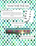 Word Wall Ring Pull List