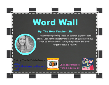 Word Wall Roots and Affixes