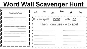 Word Wall Scavenger Hunt & Phonics Pattern Spelling Practice