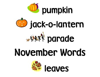 Word Wall Seasonal and Monthly Words with Picture Clues