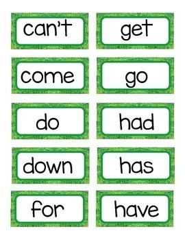 Word Wall Set 1G- 2R Power Words-Caterpillar