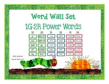Word Wall Set 1G- 2R Power Words-Caterpillar