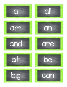 Word Wall Set 1G-2R Power Words (Neon)