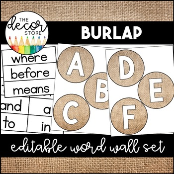 Word Wall Set: Burlap | Classroom Decor