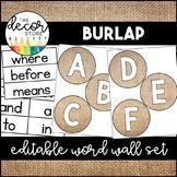 Word Wall Set: Burlap   Classroom Decor