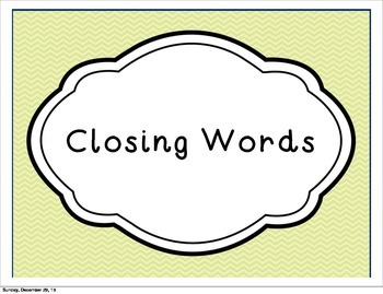 Word Wall Set- Closing Words