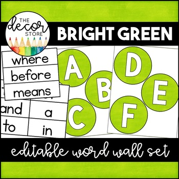 Word Wall Set: Green | Classroom Decor