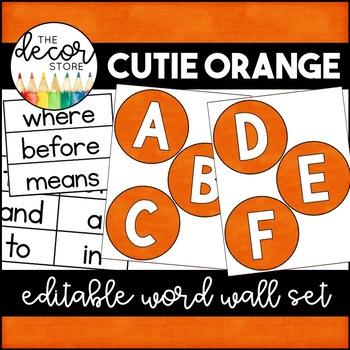 Word Wall Set: Orange | Classroom Decor