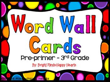 Black Rainbow Dot Word Wall Set:  Pre-primer - 3rd Grade