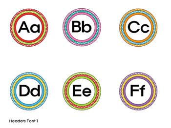 Word Wall Set - Rainbow Polka Dot - Editable