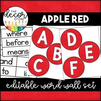 Word Wall Set: Red | Classroom Decor