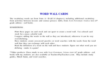 Word Wall Set for Scott Foresman Science (4th grade edition - red bk)