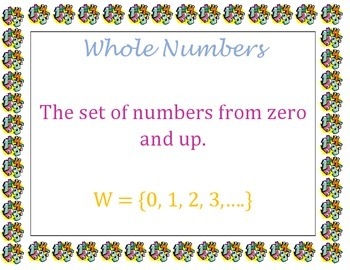 Word Wall - Sets of numbers