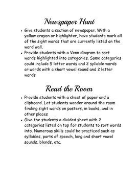 Word Wall Sight Word Activities