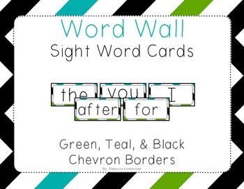 Word Wall Sight Word Cards - Chevron Border