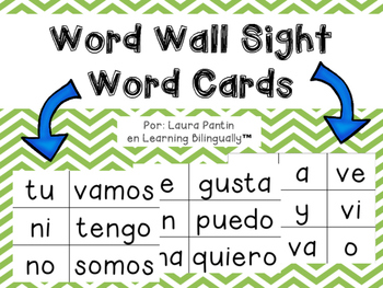 Word Wall Sight Word Cards in Spanish