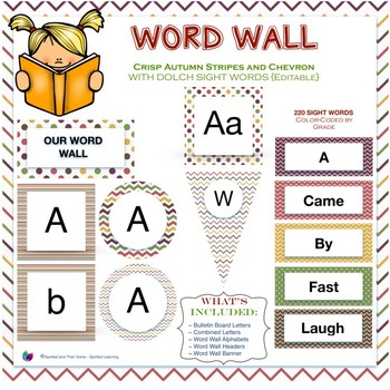 Word Wall Sight Words in Crisp Autumn Stripes and Chevron {Editable!}