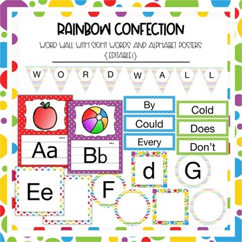 Word Wall Sight Words in Rainbow Confection Dots and Chevron {Editable!}